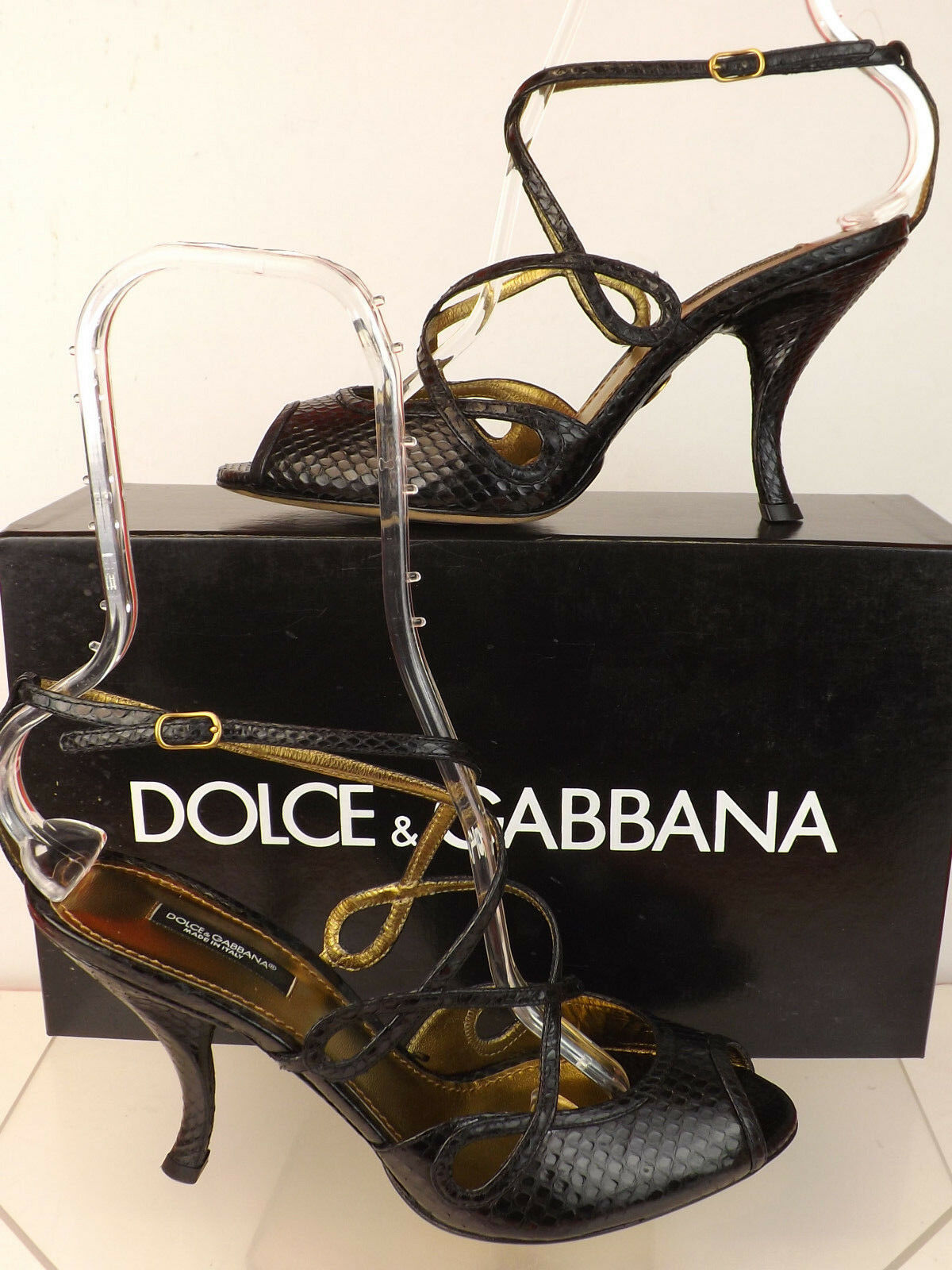 NIB DOLCE BLACK GABBANA BLACK DOLCE SNAKE LEATHER STRAPPY SANDALS PUMPS 37.5 ITALY db71e2