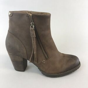 Clarks-Artisan-Brown-Distressed-Leather-Ankle-Zip-Up-Heeled-Booties-Boots-UK5-5D