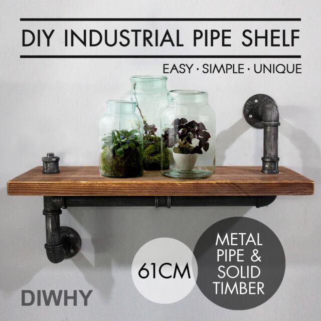 2pcs Rustic Vintage Industrial Pipe Shelf Mount Bracket Wooden Wall