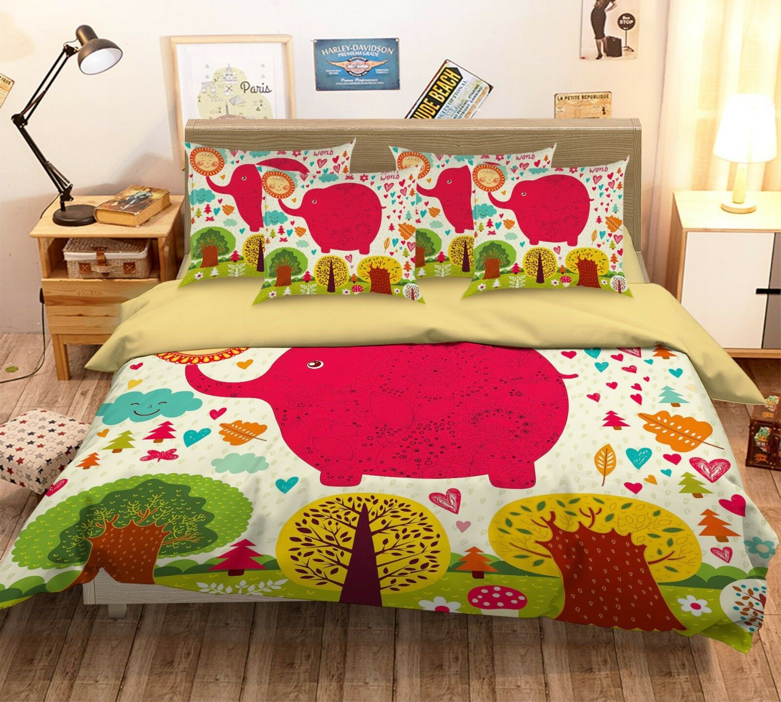 3D Red Elephant 42 Bed Pillowcases Quilt Duvet Cover Set Single Queen King AU