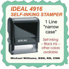 1 Line rubber stamp, custom, on narrow case, Trodat/Ideal Self Inking 4916 black