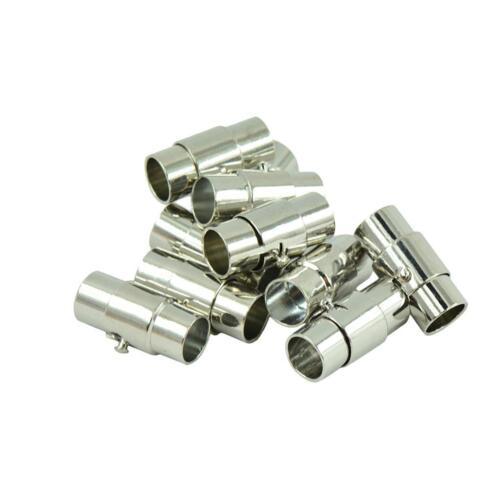 10 Sets Leather-Kumihimo Glue In Magnetic Clasp Slide Lock Bracelet DIY 4mm 6mm
