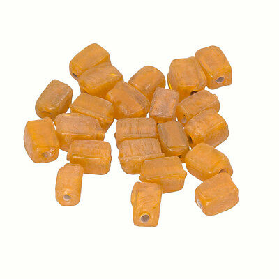 Opaque Yellow Handmade 6x4mm Cuboid Glass Beads Pack of 20 R15//5