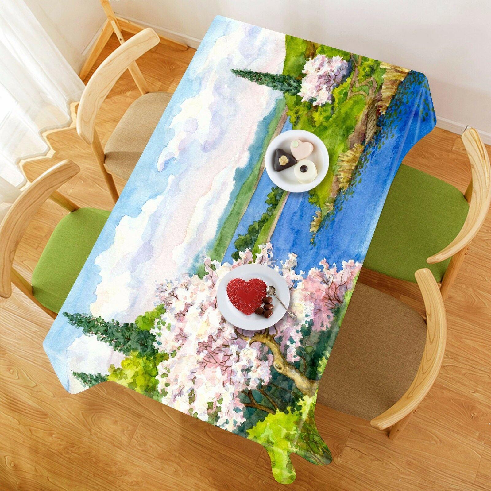 3D River Painting Tablecloth Table Cover Cloth Birthday Party Event AJ WALLPAPER