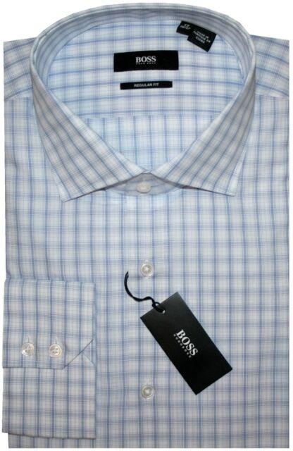 NEW HUGO BOSS WHITE & LT BLUE PLAID CUTAWAY COLLAR DRESS SHIRT 17 34/35
