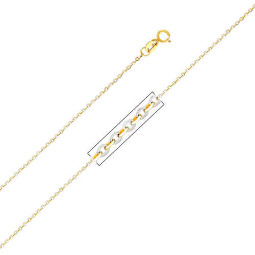 14K Two Tone Gold 1.4mm Side Diamond Cut Rolo Cable Chain 18 Inches