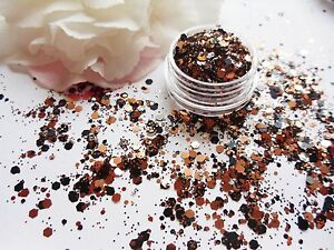 Nail Art Chunky Fire Rosegold Black Hexagon Glitter Spangle Mix
