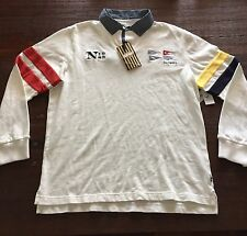 NWT Nautica Heritage Polo Rugby Knit Shirt Cream Embroidered  Sz XL Slim Fit
