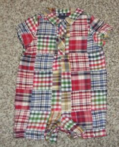 Standard-Blues-Baby-Boys-Romper-Patchwork-Madras-Size-6-Months-EUC