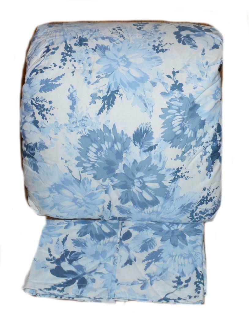 RALPH LAUREN bleu grandes fleurs 3P King Couette & Taies ensemble neuf coton