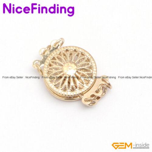 3 Strands Filigree Yellow Gold Plated Box Jewelry Making Clasp 12mm GP0274 DIY