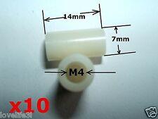 20 Arandela de nailon plástico no M4 Espaciador agujero roscado exterior 7mm 14mm largo Separador