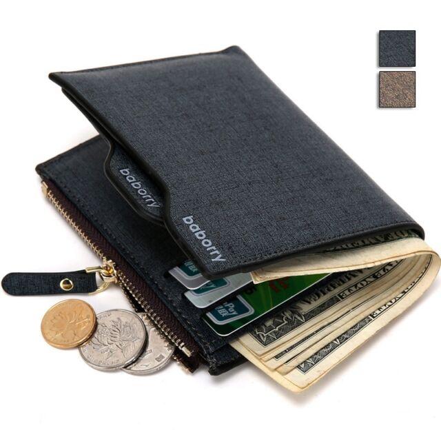 Men's Bifold Wallet Photo Cash Holder Bag Removable Card Case Leisure Coin Purse