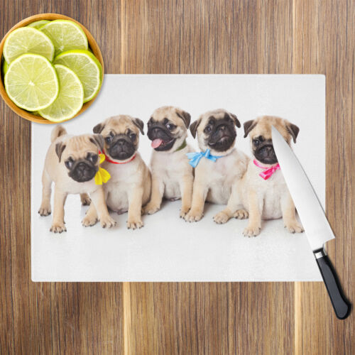 Pug Puppies Dogs Red Blue Glass Chopping Board Kitchen Worktop Saver Protector