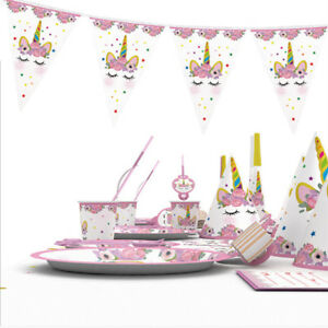 Children-Kids-Unicorn-Theme-Birthday-Party-Supplies-Favor-Tableware-Decor-OO