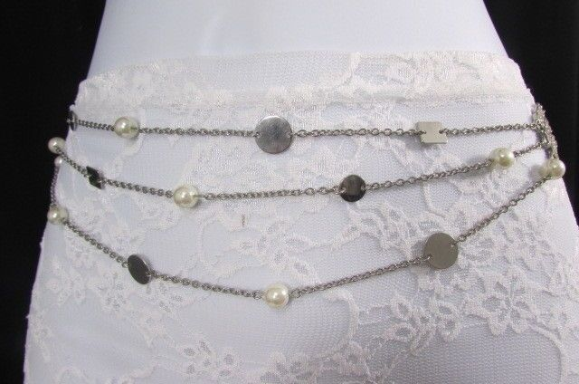 "New Women Silver Multi Chains Fashion Belt Hip Waist Pearl Beads S M L 30""-41"""