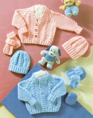 Hat /& Mittens DK Knitting Pattern Baby Boy/'s Cable Sweater 212