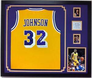 online store ff3d8 8e402 Details about MAGIC JOHNSON AUTOGRAPHED FRAMED LOS ANGELES LAKERS JERSEY  SIGNED