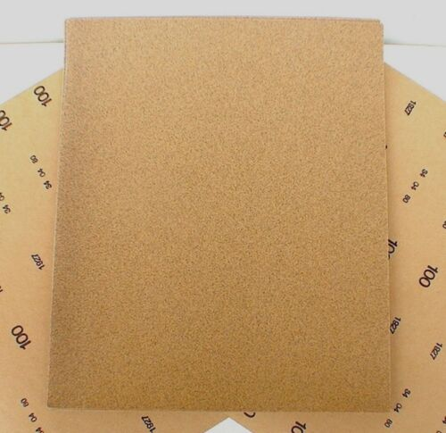 "Aluminium 100 Grit pk 6 11""x 9"" Medium Grey Oxide sandpaper heavy paper sheets"