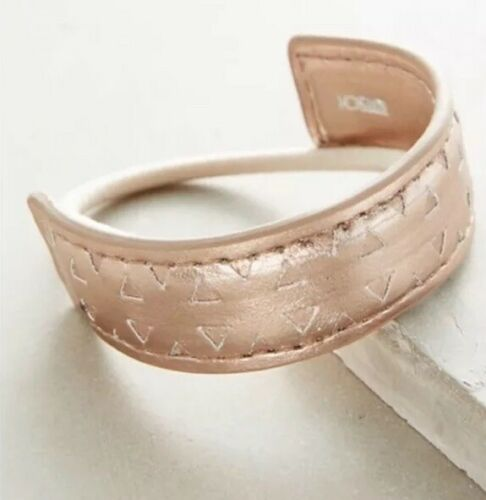 NWT Anthropologie Leather Pony Tail Holder Hair Accessory Gold