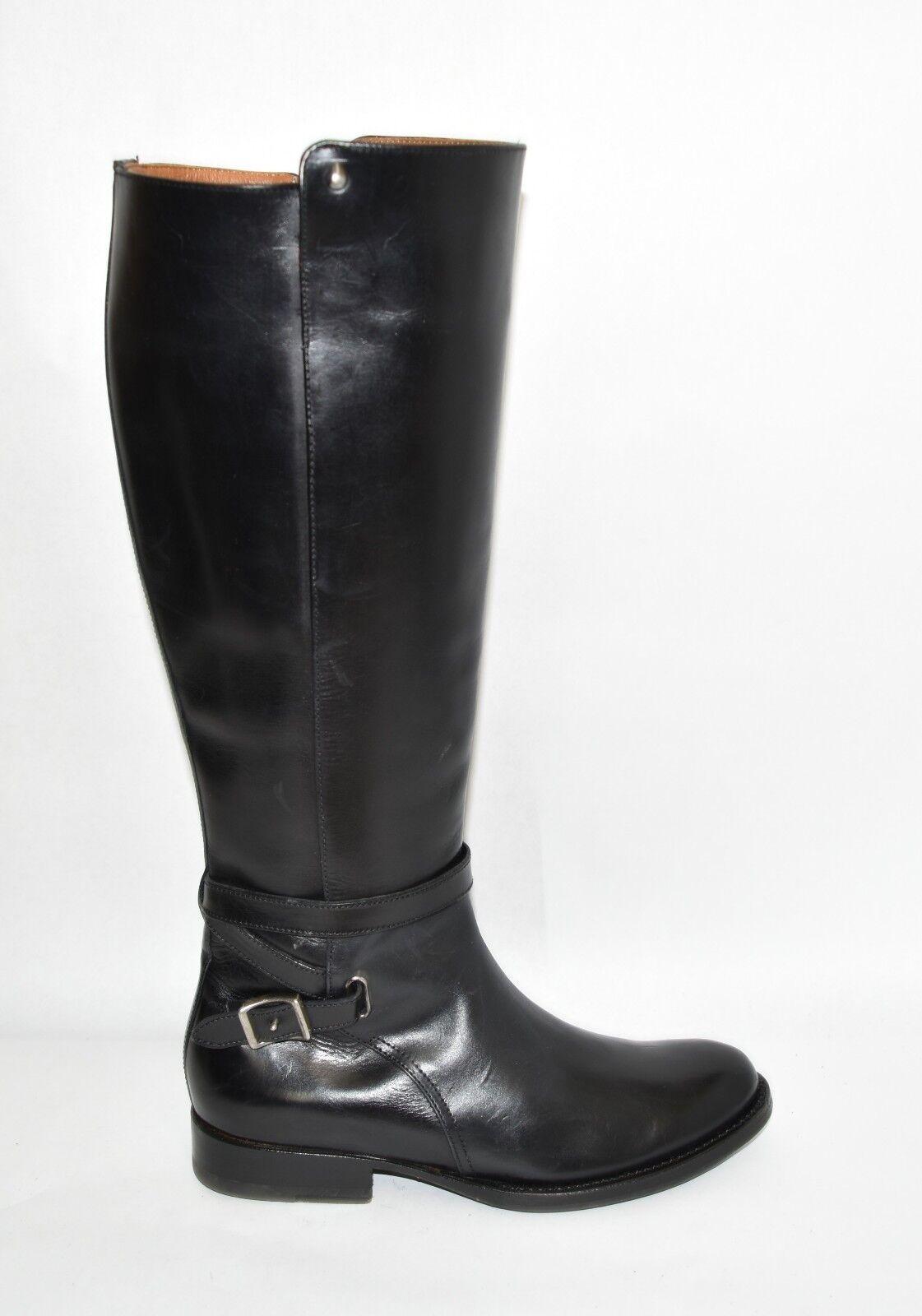 New  Frye 'Jordan Buckle Strap Knee High Boot' 3476089 Black Leather Size 7 T11