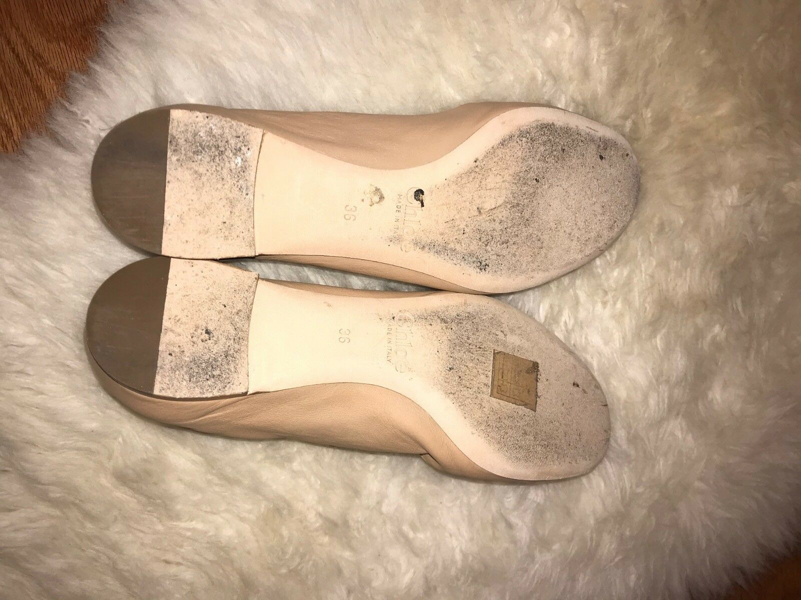 Chloe Lauren Scalloped Nude Ballet Flats schuhes Nude Scalloped  Leder 9f0a17