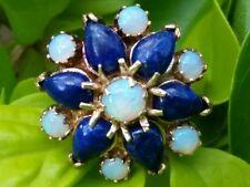 Vintage 14k Yellow Gold Opal  Lapis Starburst Ring Estate Jewelry Ladies 5.5 gm