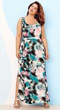 Ava & Viv Women's Plus Size 4X Palm Print Turquoise Pink Blue Maxi Dress 28W 30W