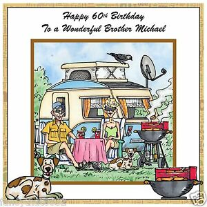 Image Is Loading Mens Handmade Personalised Birthday Card Caravan Camping Dog