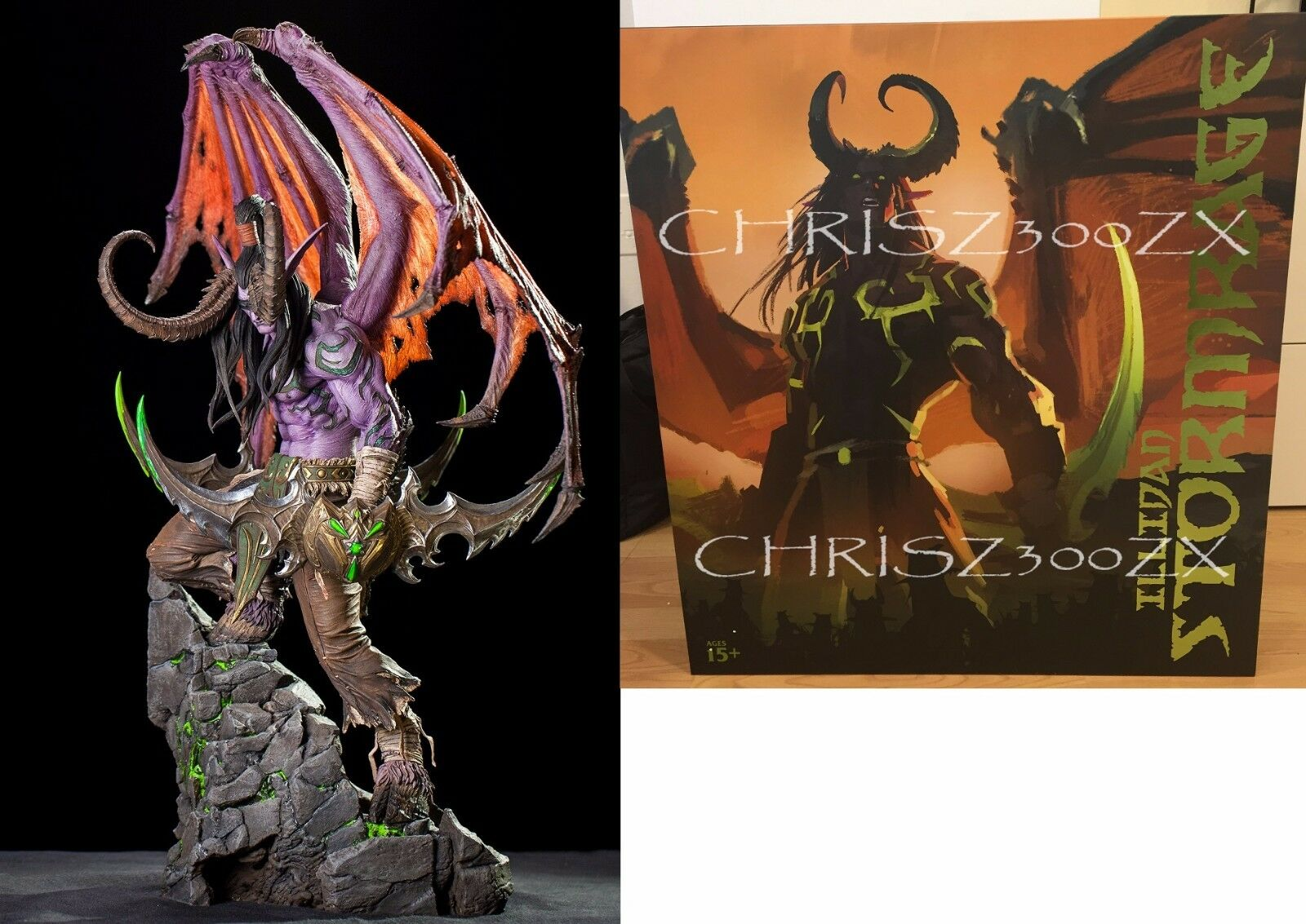 BLIZZCON 2016 Warcraft illidan Stormrage Statue Warglaives Polyresin 24