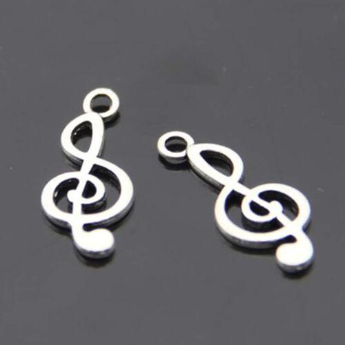 Art Design Tibetan Silver musical note DIY 20 pcs beads Charms Pendant
