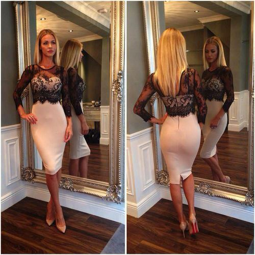 UK Women Lace High Waist V-Back Bodycon Party Cocktail Evening Pencil Dress