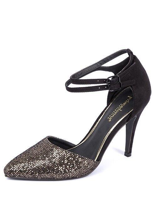 Ladies Buckle Black Party Wedding Glitter Suede Stiletto Heel Buckle Ladies Women UK Sizes 3-7 45aeb2