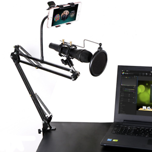 Microphone-Stand-with-Mic-Pop-Filter-and-Universal-Cell-Phone-Holder-Shock-Mount