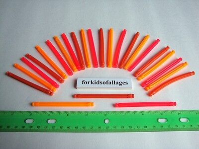 "KNEX BUILDING TOY LOT: 25 Neon Flexi Rods 3 1/4"" Orange Red Flexible Flex Parts"
