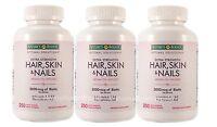 3 Bot Nature's Bounty Hair Skin And Nails Vitamin 5000 Mcg Biotin 250 Tabs