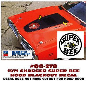 QG-245 1971 DODGE CHARGER NO R//T LOGO HOOD BLACKOUT DECAL MATT BLACK