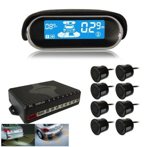 8 Black Parking Sensor Dual-Core Front Rear Reverse Backup Radar Alarming System