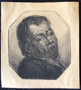 Brillant Norblin De La Gourdaine 1745-1830 Homme Bouche Ouverte C 1785 Sur Vélin Polska