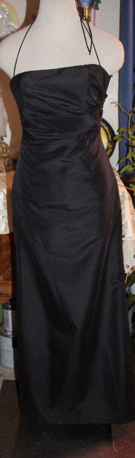 Amsale black taffeta bridesmaids evening formal long halter dress 4