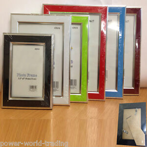 PICTURE-PHOTO-FRAME-MODERN-GLOSSY-HANGING-DESKTOP-GLASS-FRONT-SILVER-PLATE-STRIP