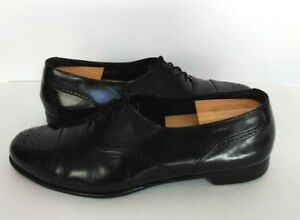 Johnston-amp-Murphy-Men-Oxfords-Cap-Toe-Lace-Up-Shoes-Black-Size-11M-Made-in-Italy