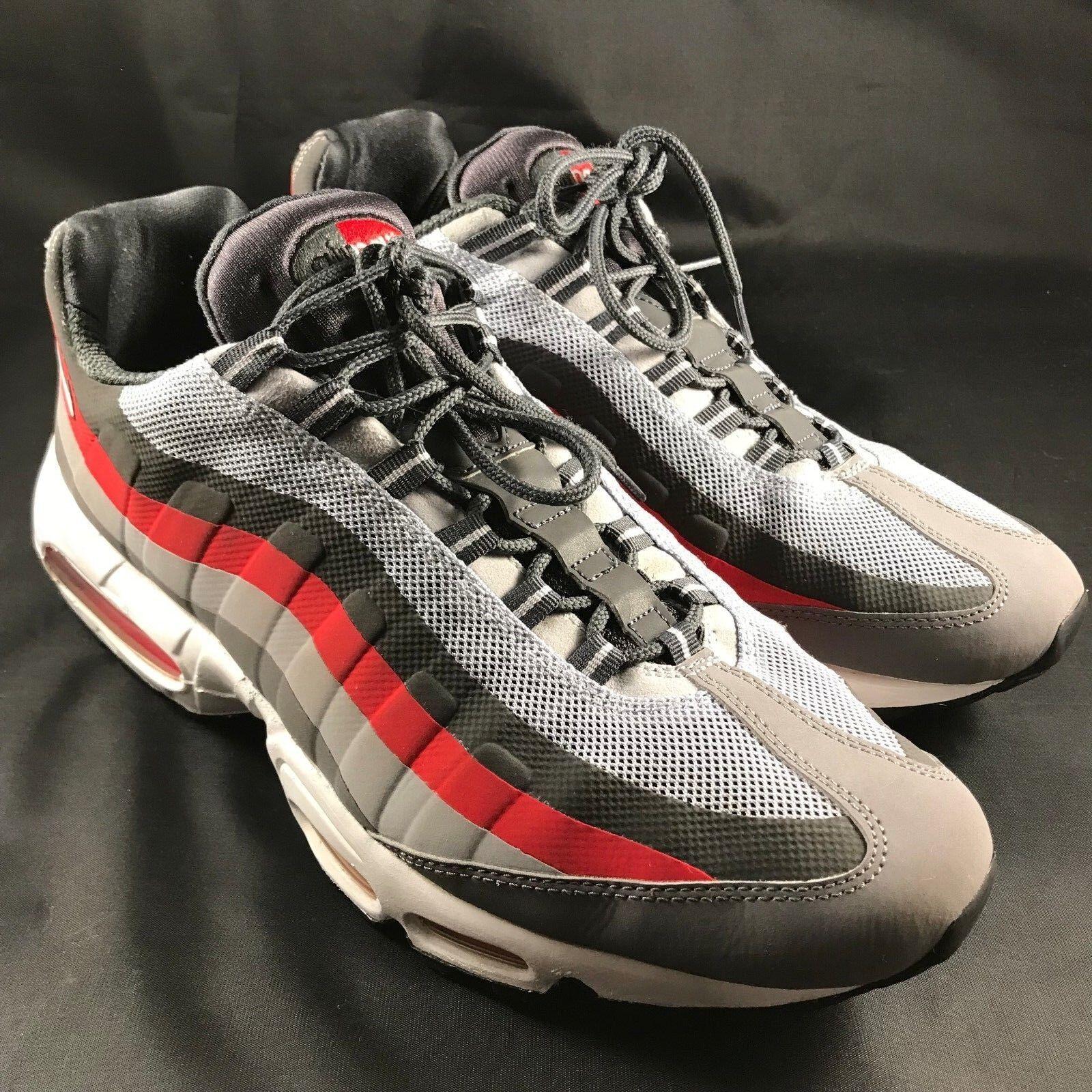 Men's sz 13 Nike Sew Air Max 95 No Sew Nike Dark Gray Challenge Red 616190-0006 Restored 7786de