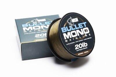 Nash Bullet Mono Mainline Ultra Strong 10 12 15 20 lb Brown Green Fishing