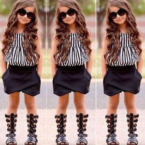 ec980525f4ca 2pcs Toddler Kid Girls Striped T Shirt Tops + Shorts Short Pants ...
