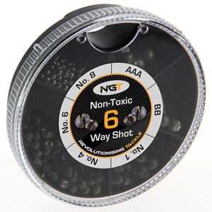 SPLIT SHOT 6 WAY DISPENSER MATCH FISHING NON TOXIC WEIGHTS COARSE CARP AAA NGT