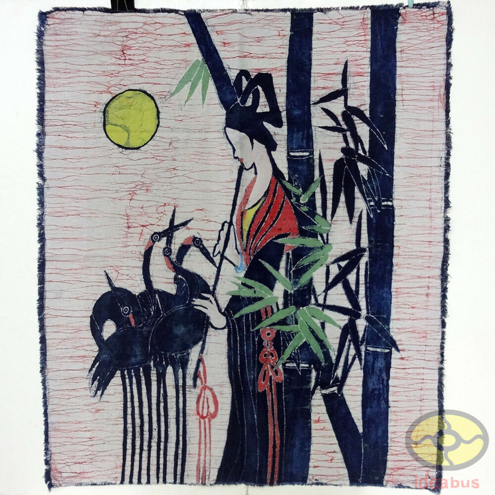 The moonlight flute Chinese Folk Art Batik Painting Wall Decor Tapestry