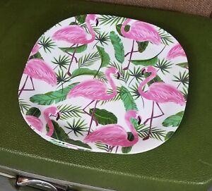 "Set Of 4 Pink Flamingo White MELAMINE plastic 11/"" Plates"