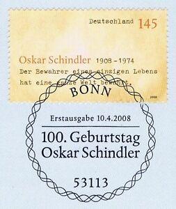 BRD-2008-Oskar-Schindler-Nr-2660-mit-sauberem-Bonner-Ersttagssonderstempel-2002