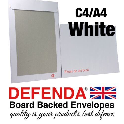 500 x WHITE C4 A4 Size STRONG BOARD BACKED Envelopes Quality Hard Card Back